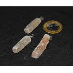 Pingente de Pedra Selenita Laranja - Helena Cristais