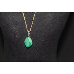 Pingente de Pedra Ágata Verde - Helena Cristais