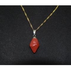 Pingente Ponta de Pedra Jaspe Vermelho