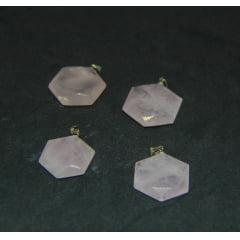 Pingente Hexágono de Pedra Quartzo Rosa