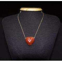 Colar de Pedra Jaspe Vermelho Coração - Helena Cristais