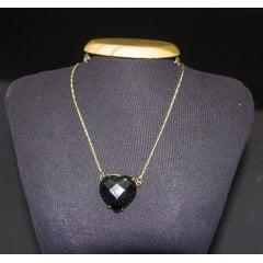 Colar de Pedra Estrela Verde Coração