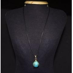 Colar Esfera de Pedra Howlita Azul - Helena Cristais