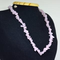 Colar de Pedra Quartzo Rosa Curto