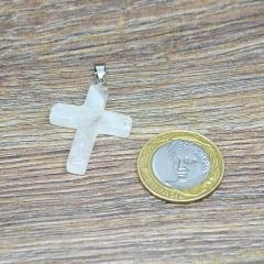 Pingente de Pedra Quartzo Leitoso Crucifixo - Helena Cristais