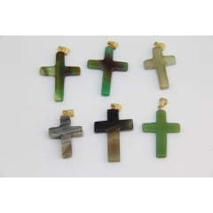 Pingente de Pedra Ágata Verde Crucifixo
