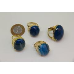 Anel de Pedra Ágata Azul Regulável