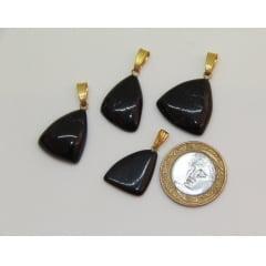 Pingente de Pedra Turmalina Negra Metal Dourado - Helena Cristais