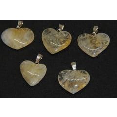 Pingente Coração de Pedra Citrino