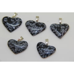 Pingente Coração de Pedra Obsidiana Floco de Neve | Helena Cristais