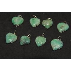 Pingente Coração de Pedra Esmeralda