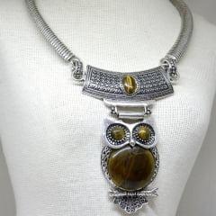 Colar Olho de Tigre Coruja Prateado Metal 6039