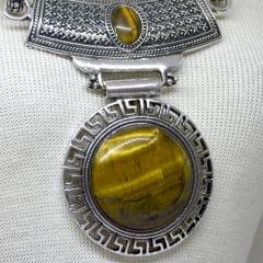 Colar de Olho de Tigre Redondo Metal Prateado – 6042