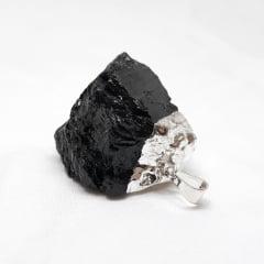 Pingente Turmalina Negra Bruta Prateado 6562
