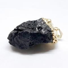 Pingente Turmalina Negra Bruta Dourado 6563