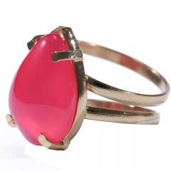 Anel de Pedra Ágata Rosa Dourado Regulável