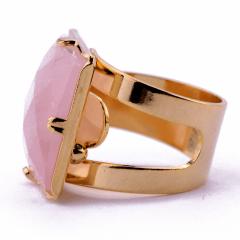 Anel de Quartzo Rosa Banhado a Ouro