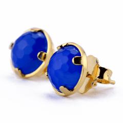 Brinco de Ágata Azul Banhado a Ouro
