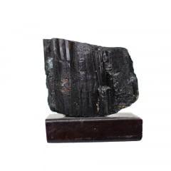 Pedra Turmalina Negra Bruta com Base 377g