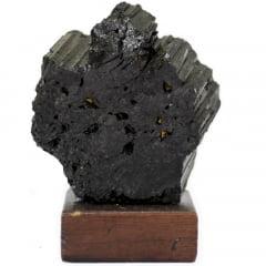 Pedra Turmalina Negra Bruta com Base 578g