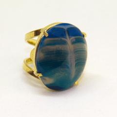 Anel de Pedra Ágata Azul Regulável - Helena Cristais