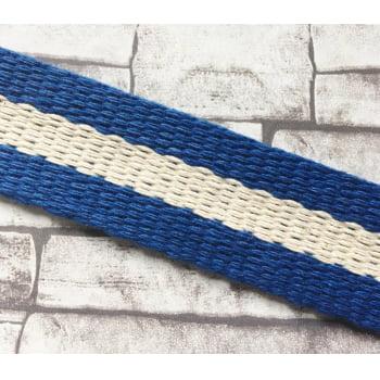 Alça de Algodão Azul Royal Lista Crú - 3,3cm