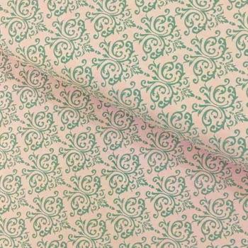 Tecido Arabesco Cinza fd Rosa