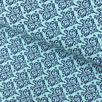 Tecido Arabesco Marinho fd Tiffany