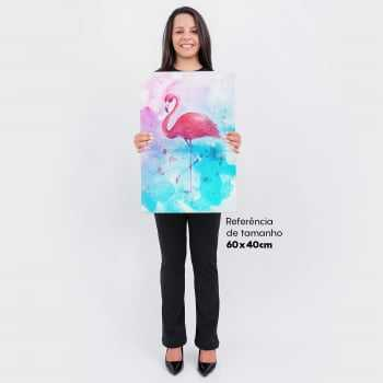 Quadro Flamingo Watercolor Pink and Blue