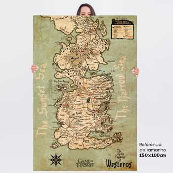 Quadro Game of Thrones Mapa Westeros 7 Reinos