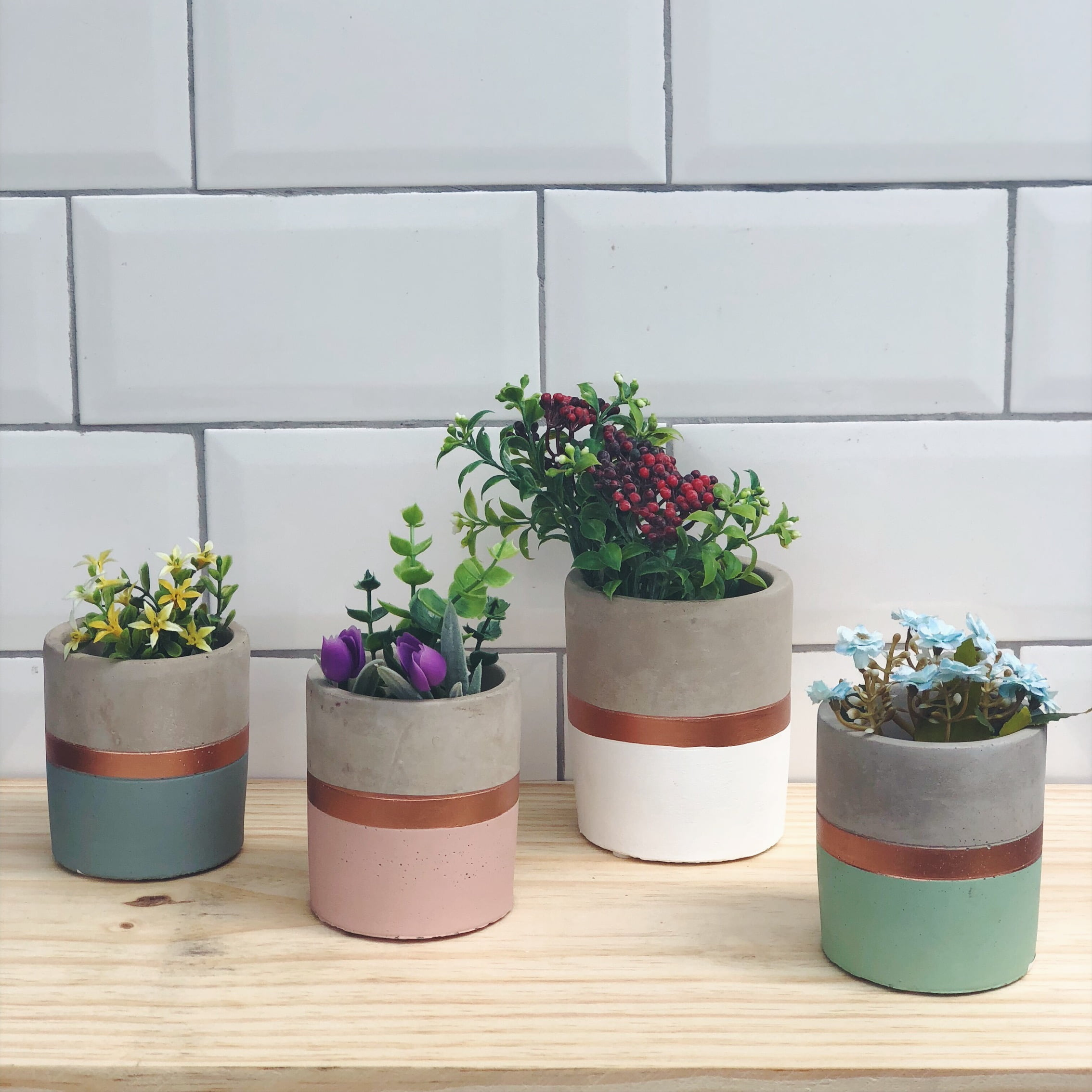 vaso cimento e cobre