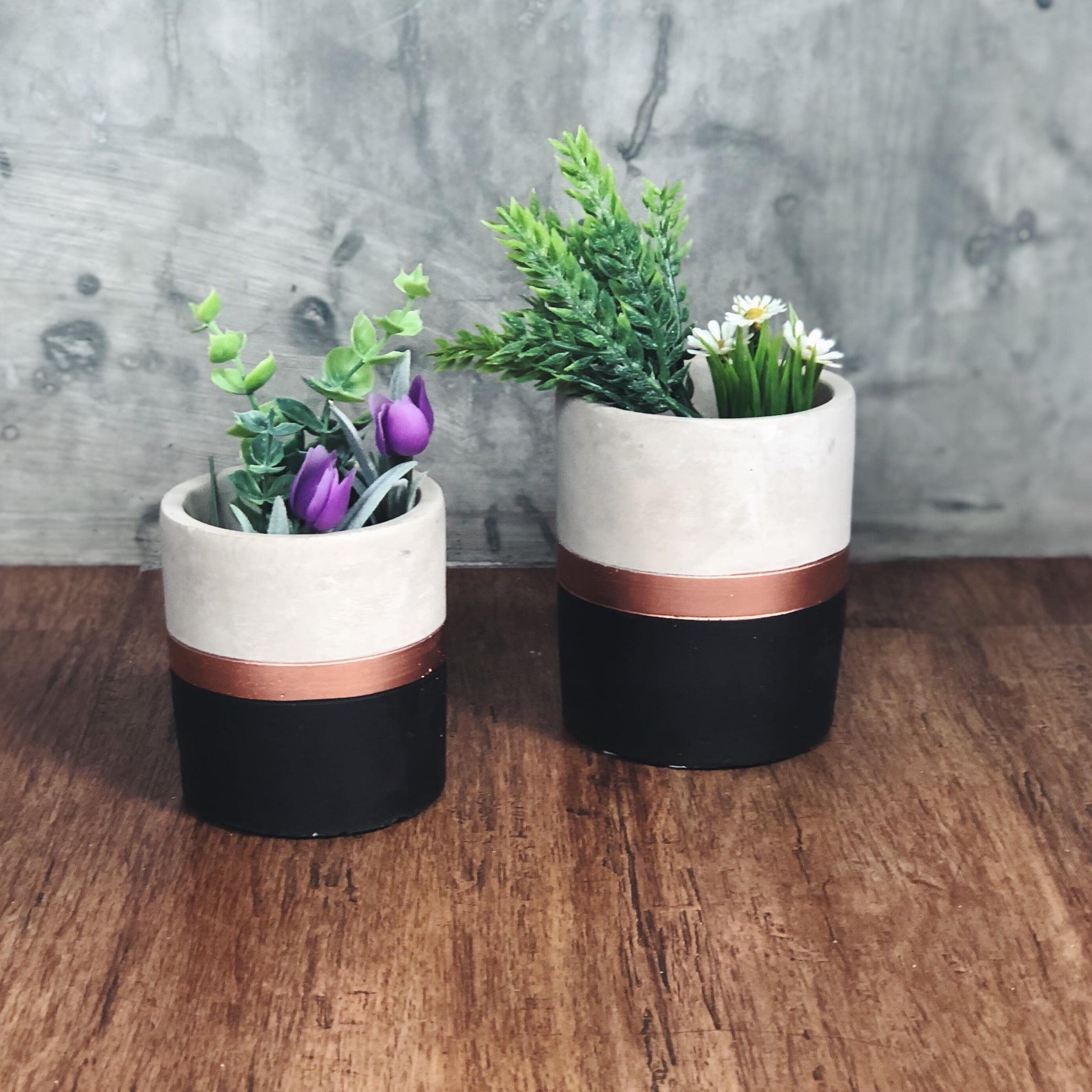 vaso cimento cobre e preto