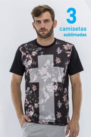 KIT CAMISETAS sublimadas 3 PEÇAS DE R$280 POR R$177