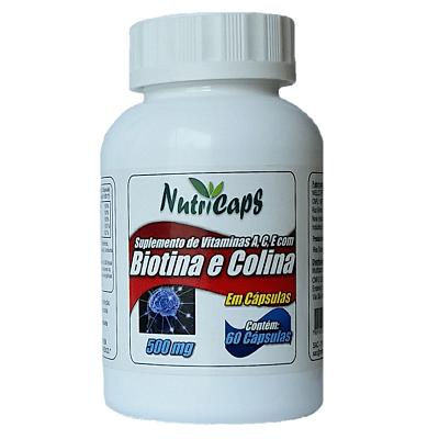 Biotina e Colina Com Vitamina A C E 500mg - 60 Cápsulas