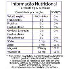 ZMA (Zinco, Magnésio e Vitamina B6) - 60 Cápsulas