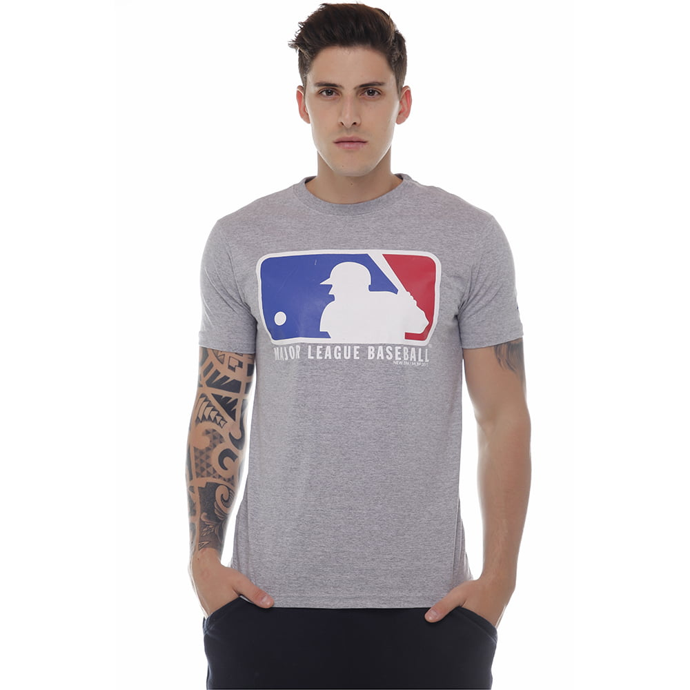 camiseta new era logo mlb cinza h027