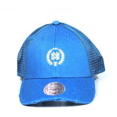 Bone Mitchell and Ness trucker snapback azul