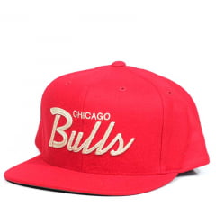 Bone Chicago Bulls Mitchell and Ness snapback vermelho