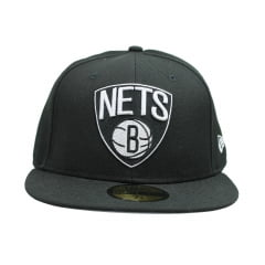 bone new era brooklyn nets 5950 basic preto