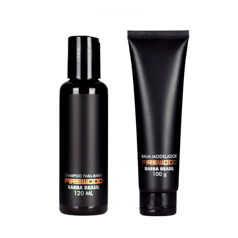 Kit Barba Curta - Shampoo e Balm - Firewood - Barba Brasil