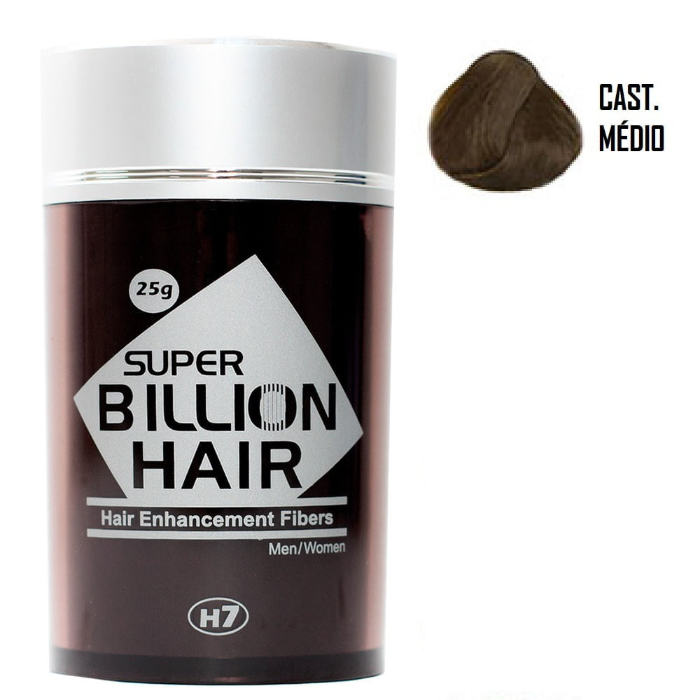 Super Billion Hair Fibers 25gr Castanho Médio - Disfarce Para Calvice