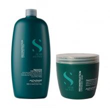 Kit Semi Di Lino Reconstrução Shampoo 1000ml + Máscara 500ml - Alfaparf