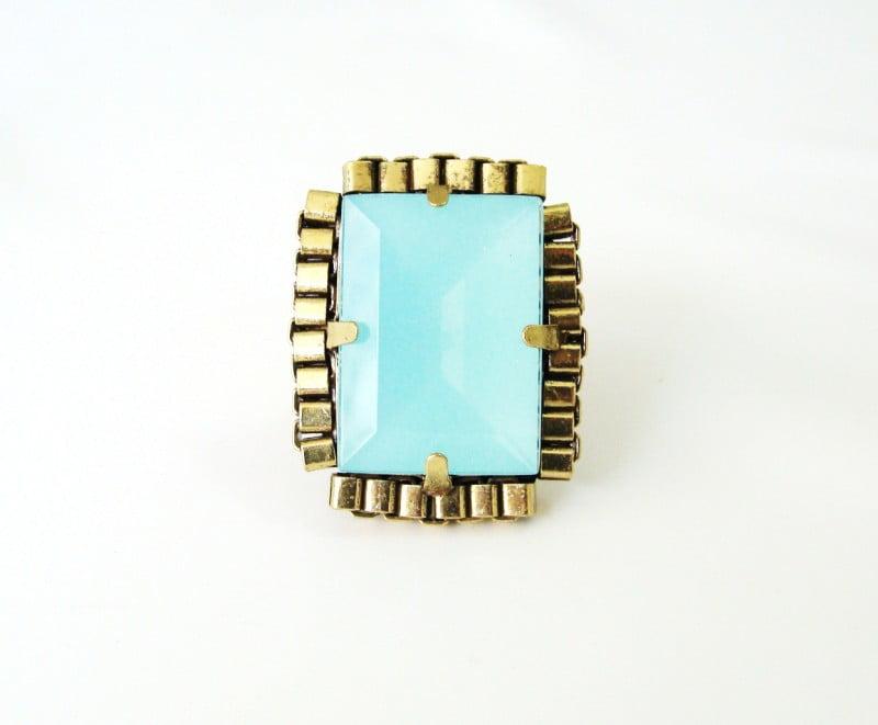 Anel ouro velho com pedra azul pacific