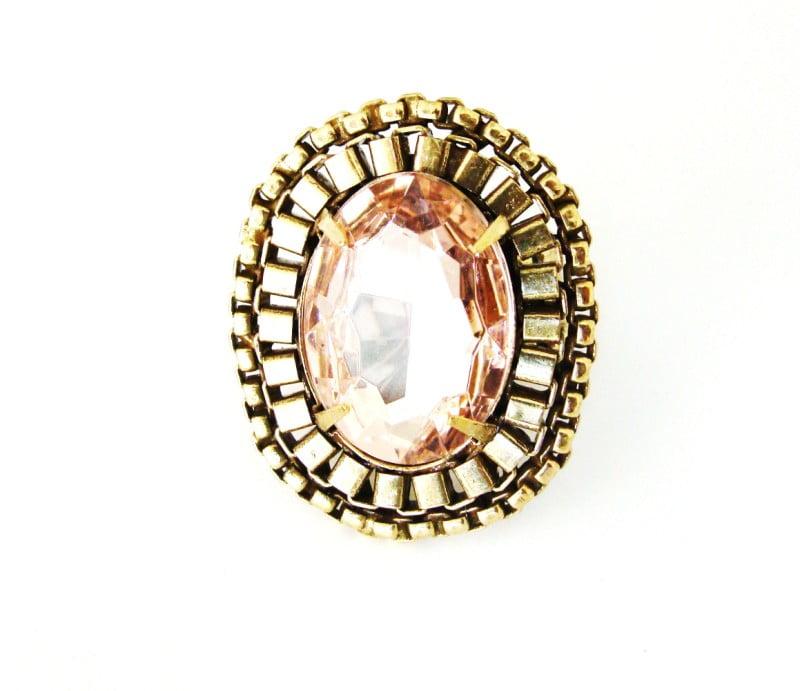 Anel ouro velho grande com pedra rosa