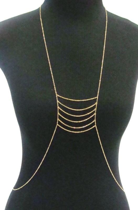 Colar dourado body chain teia