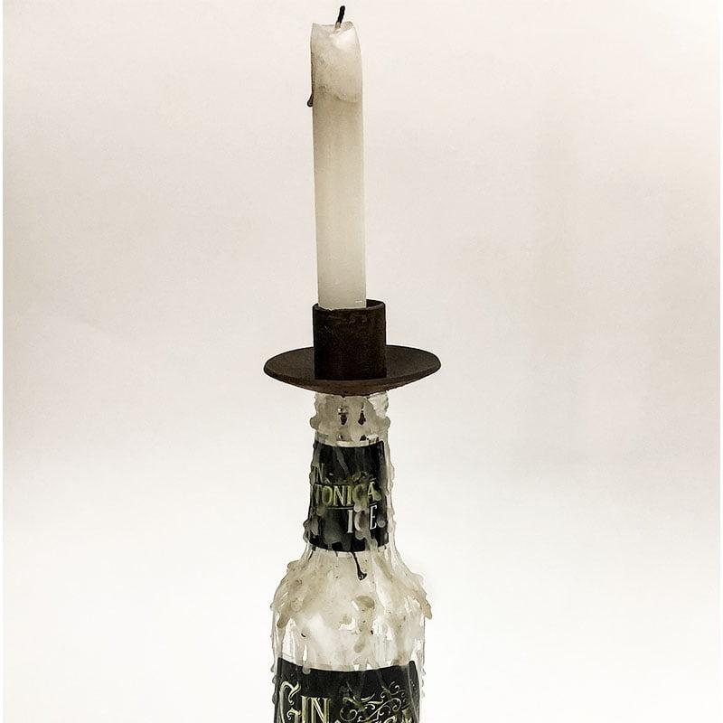 Suporte de ferro para vela de garrafa tipo castiçal