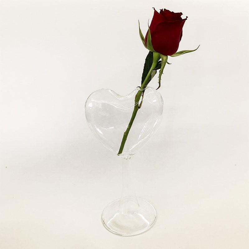 Vaso de vidro coração