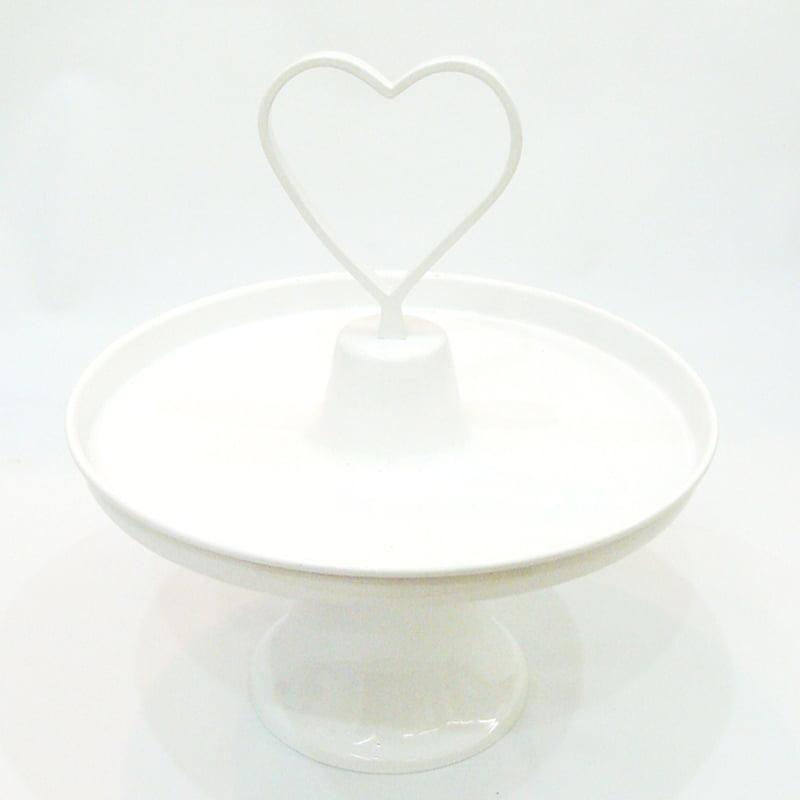 Prato de doces coração grande branco