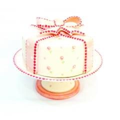 Boleira de cerâmica com tampa mini rosas