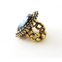 Anel ouro velho pedra azul